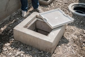 Grease trap, pluming device used to intercept greases and solids in Water Treatment System from Household Hazardous.